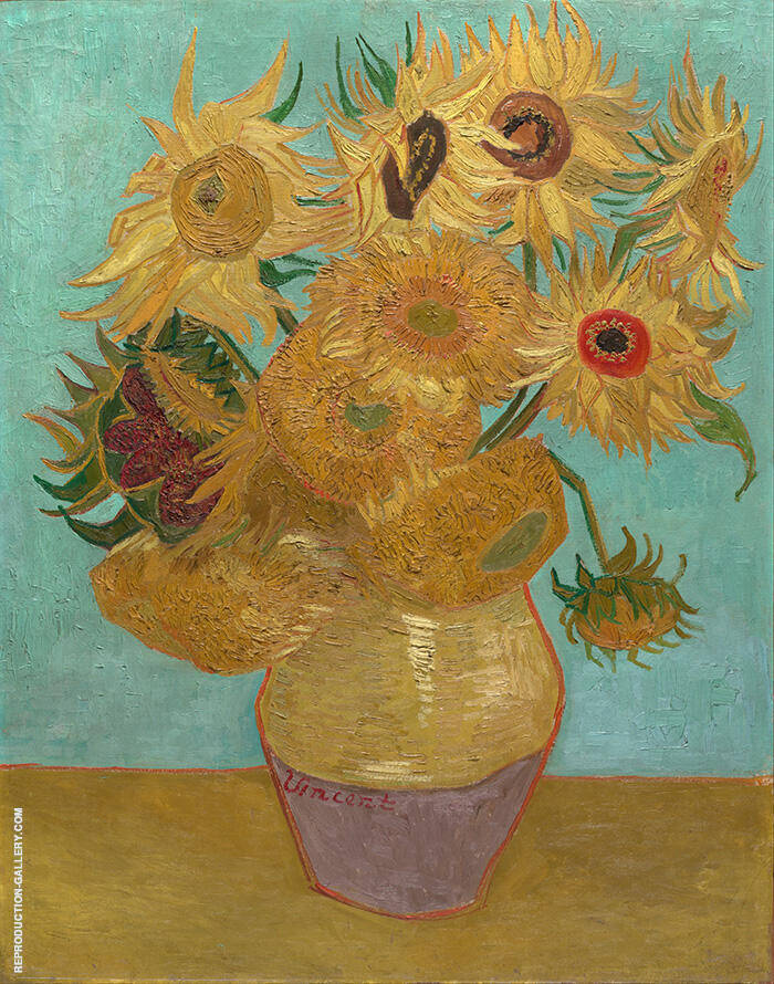Vase with Twelve Sunflowers c1889 By Vincent van Gogh