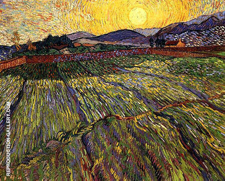 Wheat Field with Rising Sun By Vincent van Gogh