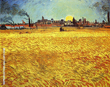 Wheat Field at Sunset 1889 By Vincent van Gogh