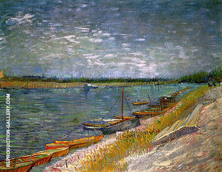 View of a River with Rowing Boats By Vincent van Gogh