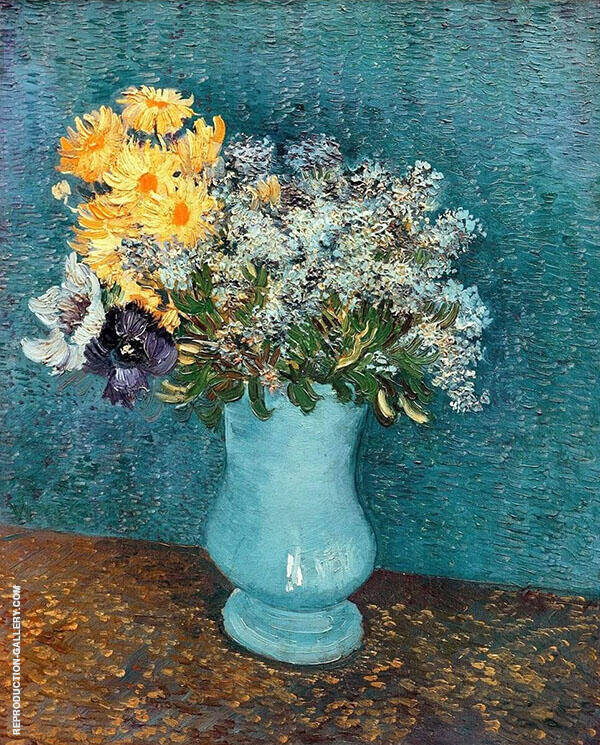 Vase with Lilacs Daisies and Anemones By Vincent van Gogh