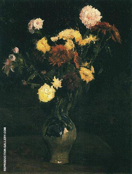 Vase with Carnations and Zinnias By Vincent van Gogh