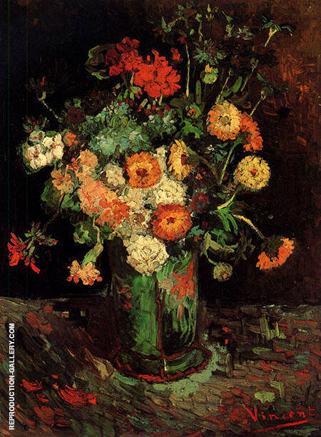 Vase with Zinnias and Geraniums By Vincent van Gogh