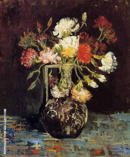 Vase with White and Red Carnations By Vincent van Gogh