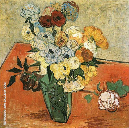 Vase with Roses and Anemones By Vincent van Gogh