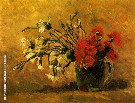 Vase with Red and White Carnations on a Yellow Background Painting By ...
