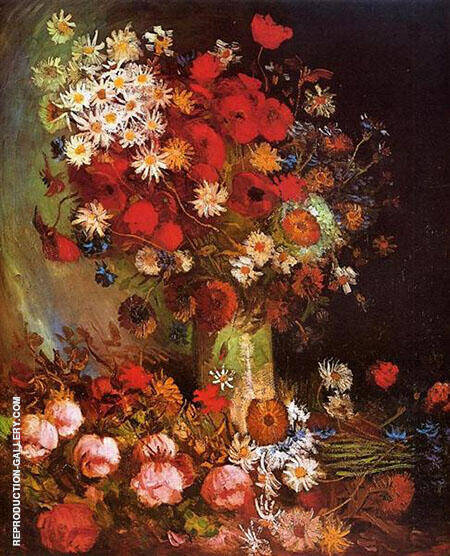 Vase with Poppies Cornflowers Peonies and Chrysanthemums By Vincent van Gogh