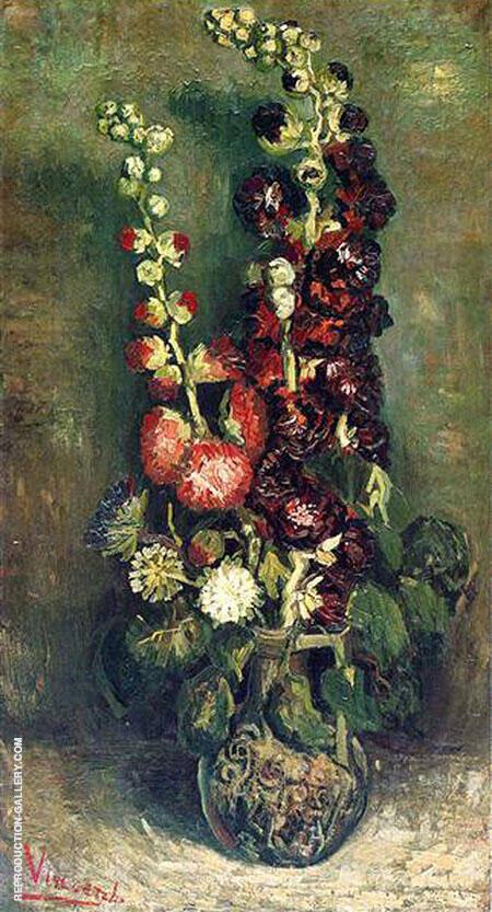 Vase with Hollyhocks By Vincent van Gogh