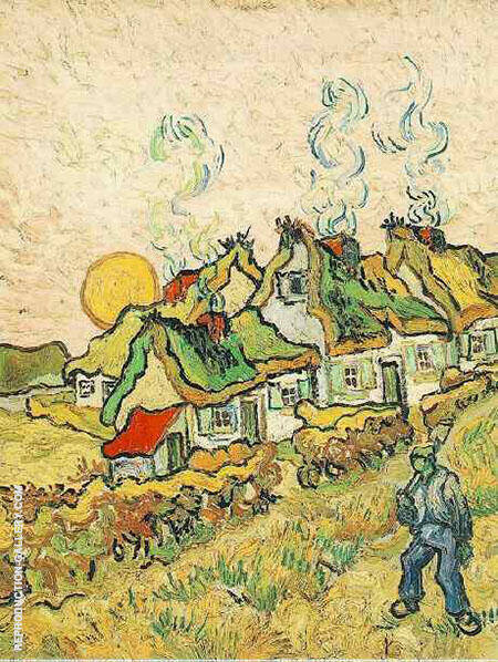 Thatched Cottages in the Sunshine Reminiscence of the North February By Vincent van Gogh