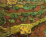 Olive Trees Against a Slope of a Hill November 3084 By Vincent van Gogh