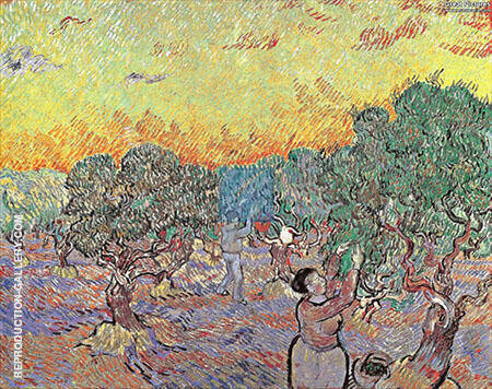 Olive Grove with Two Olive Pickers December 1889 By Vincent van Gogh