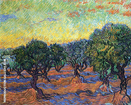 Olive Grove Orange Sky November 1889 By Vincent van Gogh