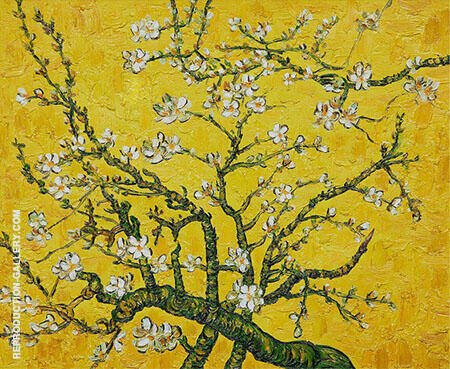 Branches of Almond Tree in Blossom in Yellow Painting By Vincent van Gogh