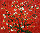 Branches of Almond Tree in Blossom in Red By Vincent van Gogh