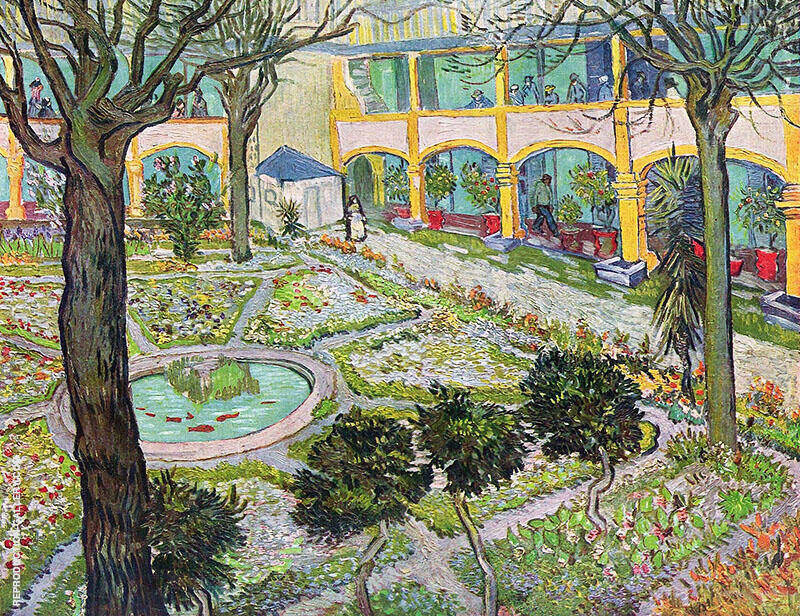 Courtyard of the Hospital in Arles By Vincent van Gogh