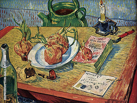 Still Life with Drawing Board Four Onions By Vincent van Gogh