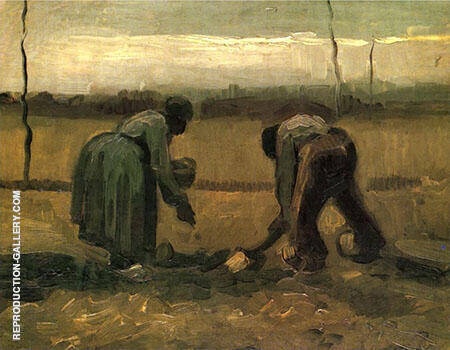 Peasant and Peasant Woman Planting Potatoes By Vincent van Gogh