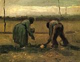 Peasant and Peasant Woman Planting Potatoes By Vincent van Gogh