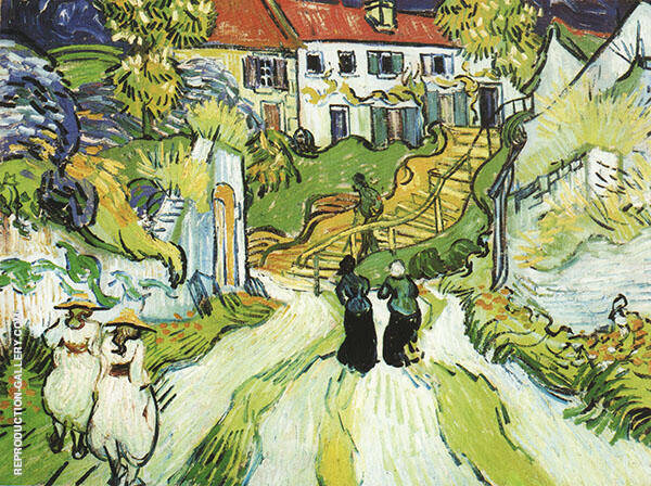 Village Street and Stairs with Figures in Auvers Auvers sur Oise 1890 Painting By ...