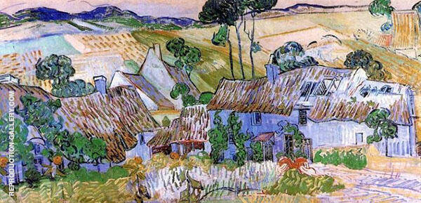 Thatched Cottages by a Hill 1890 By Vincent van Gogh
