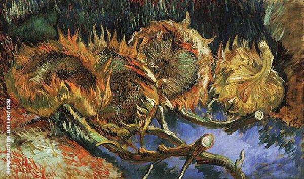 Four Cut Sunflowers By Vincent van Gogh