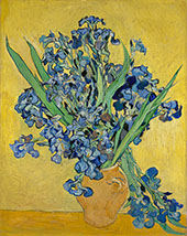 Vase with Irises against a Yellow Background 1890 By Vincent van Gogh