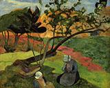 Landscape With Two Breton Women 1889 By Paul Gauguin