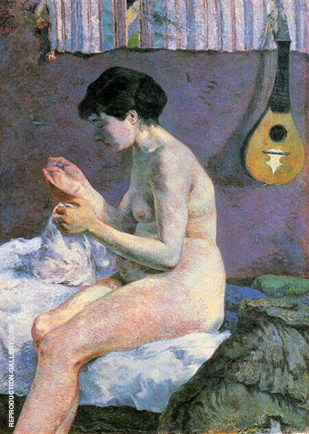 Suzanne Sewing Study of A Nude 1880 By Paul Gauguin Replica Paintings on Canvas - Reproduction Gallery