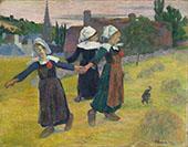 Breton Girls Dancing Pont Aven 1888 By Paul Gauguin