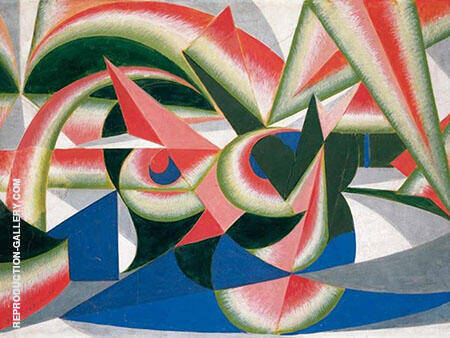 Landscape Forces Watermelon Painting By Giacomo Balla