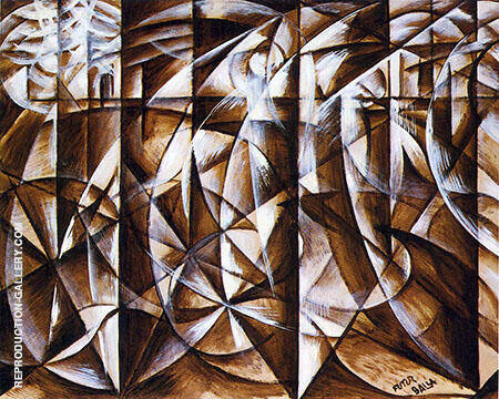 Velocity of Cars and Light 1913 By Giacomo Balla Replica Paintings on Canvas - Reproduction Gallery