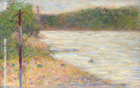 A River Bank 1883 By Georges Seurat