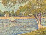 The Seine and La Grande Jatte Springtime 1888 By Georges Seurat