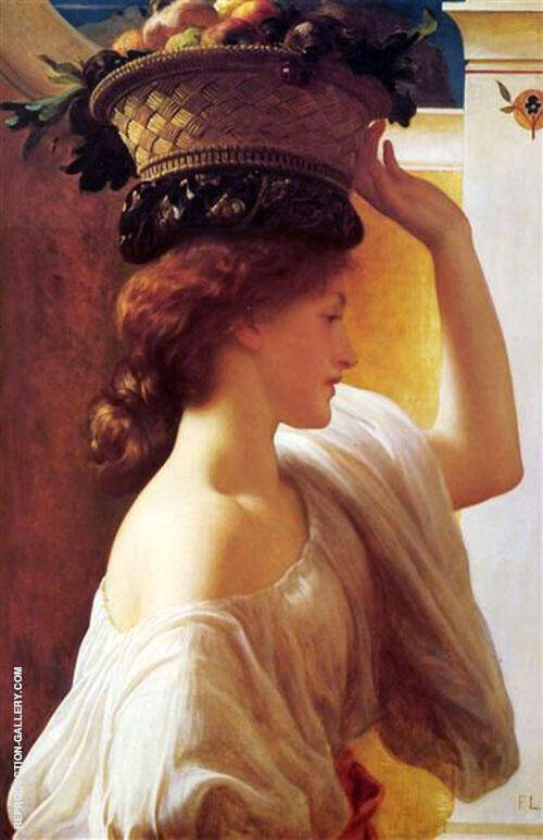 A Girl with a Basket of Fruit c1862 By Frederick Lord Leighton