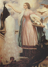 A Girl Feeding Peacocks c1862 By Frederick Lord Leighton