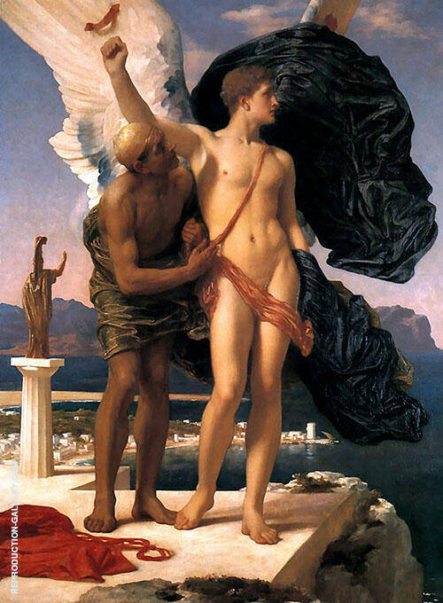 Daedalus and Icarus c1869 Painting By Frederick Lord Leighton
