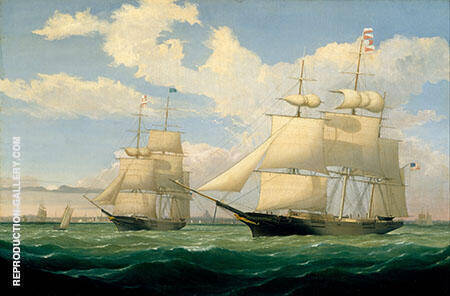The Ships Winged Arrow and Southern Cross in Boston Harbor By Fitz Hugh Lane