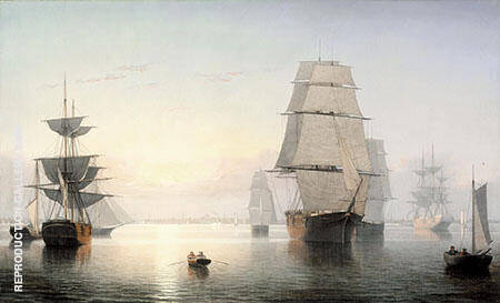 Boston Harbor Sunset By Fitz Hugh Lane