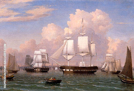Constitution Boston Harbour By Fitz Hugh Lane