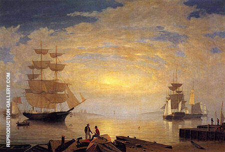 Gloucester Harbor at Sunrise2 By Fitz Hugh Lane