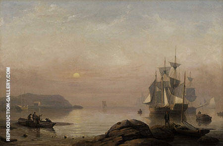 Sunrise Through Mist Shelburne By Fitz Hugh Lane