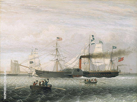 The Britannia Entering Boston Harbor By Fitz Hugh Lane