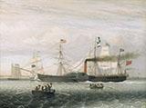 The Britannia Entering Boston Harbor By Fitz Hugh Lane