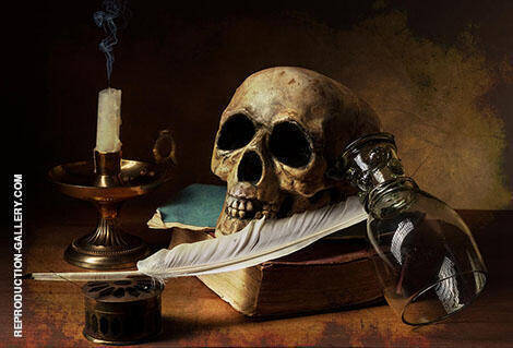 Vanitas Still Life with Oil Lamp and Writing Utensils 1628 By Pieter Claesz