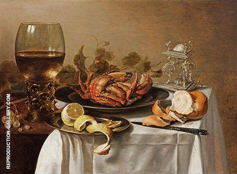 Still Life with a Roemer, Crab and Peeled Lemon By Pieter Claesz