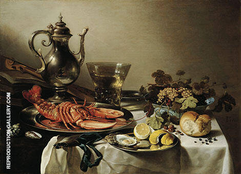 Still Life with Silverware and Lobster By Pieter Claesz