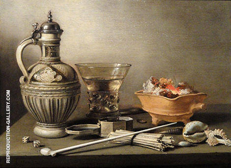 Still Life with Jug Berkemeyer and Smoking Utensils By Pieter Claesz