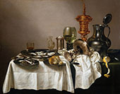 Still Life with Oysters, Lemon and a Silver Bowl 1634 By Pieter Claesz