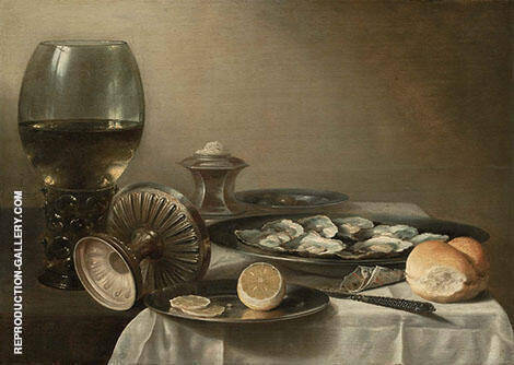 Still Life with Wine Goblet and Oysters 1630 By Pieter Claesz