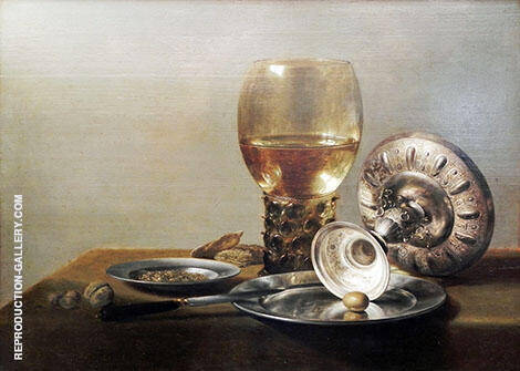 Still Life with Wine Glass and Silver Bowl By Pieter Claesz